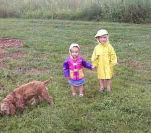 anna and leta in rain