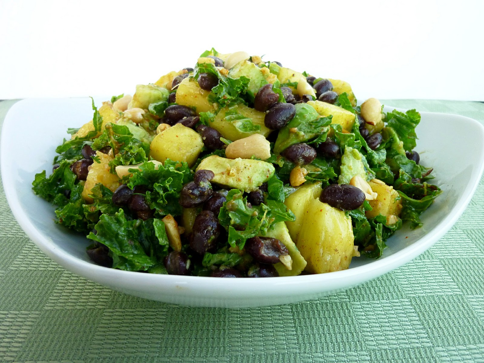 Avocado Pineapple Kale Salad/Wraps with Black Beans and an a..