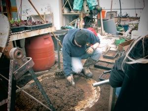 squishing soil into soil blocker